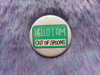 Hello I am low on spoons badge set, out of spoons pins