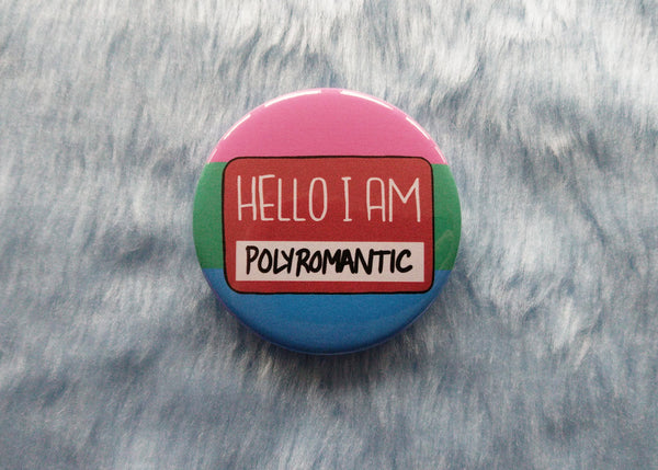 Hello I am polyromantic badge, queer pride pins