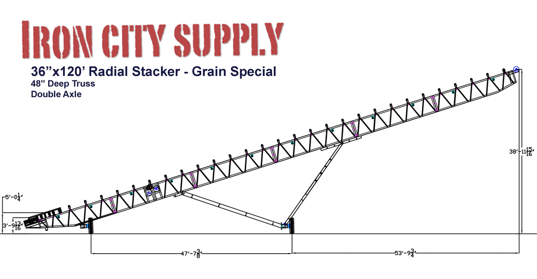 Iron City Supply NEW 36x120 Grain Radial Stacker