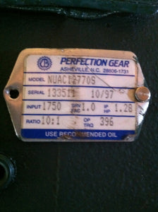Perfection Gear 10:1 Motor Reducer NUAC12770S