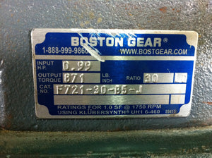 Boston Gear 30:1 Motor Reducer F721-30-B5-J