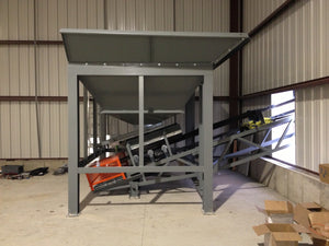 Hopper for franc sand load out, radial stacker, conveyor system