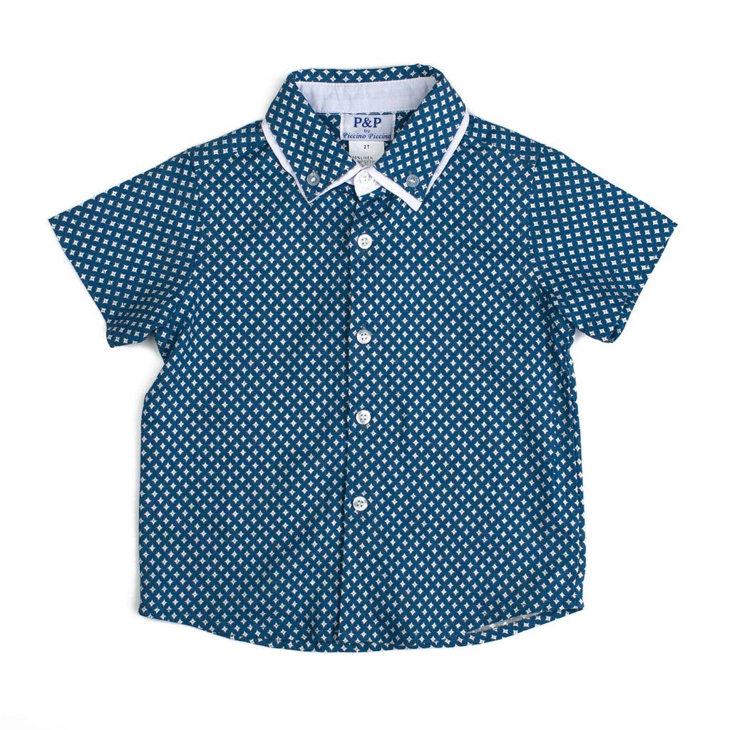 Boy Spring Short Sleeve Shirt - Blue Denim - PiccinoPiccina