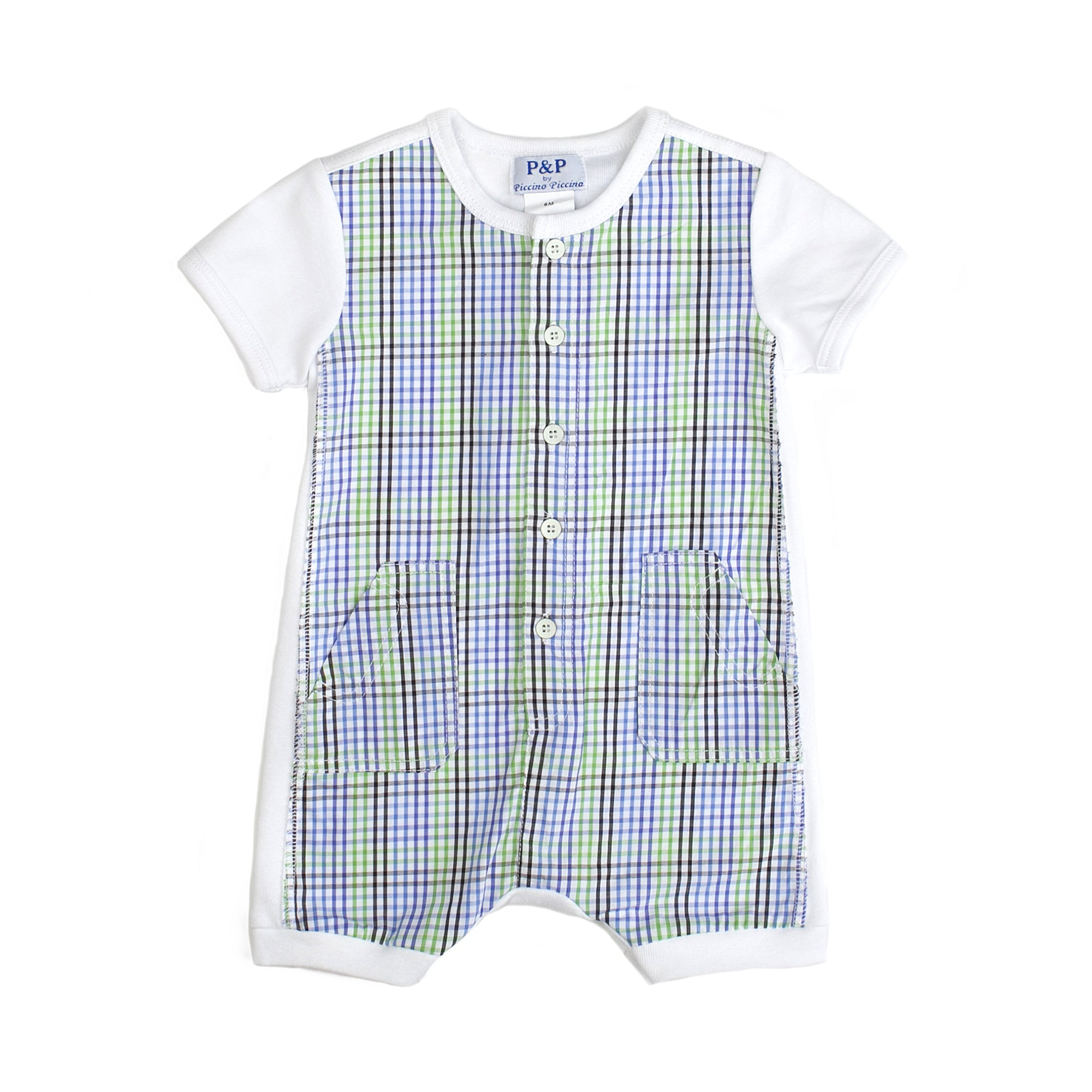 Baby Boys Plaid Spring Romper - PiccinoPiccina