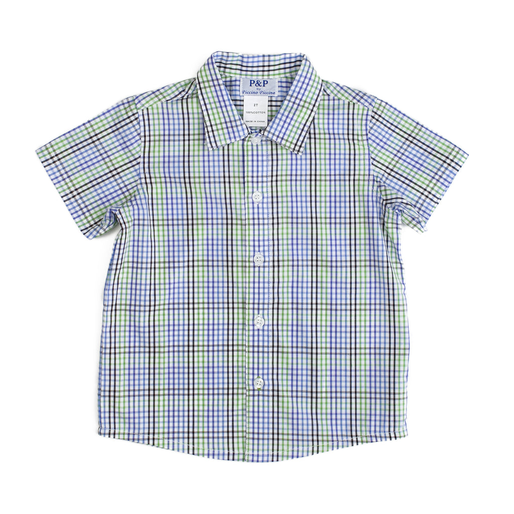 Boys Short Sleeve Green Blue Plaid Shirt - PiccinoPiccina