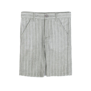 Boys Elegant Gray Stripe Shorts - PiccinoPiccina
