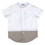 Boy Spring Short Sleeve Shirt - White Tan Color Block - PiccinoPiccina