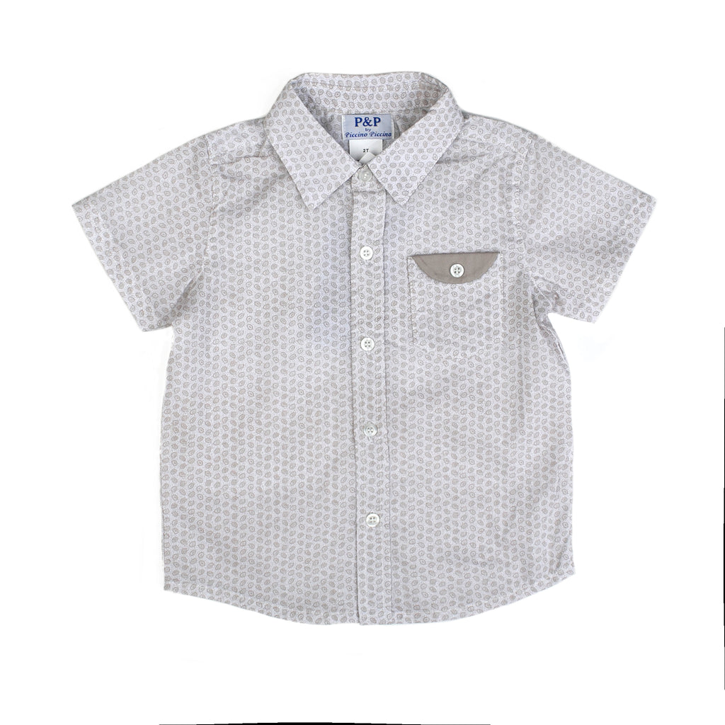 Boy Spring Short Sleeve Shirt - White Tan Paisley - PiccinoPiccina
