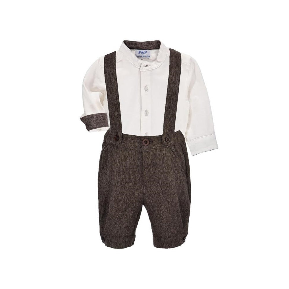 Piccino Piccina Boys Navy Dress Shorts with Suspenders