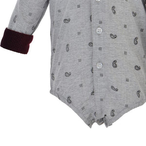 Baby Boys Clothing Set - Gray Paisley Shirt and Maroon Cotton Bottoms - PiccinoPiccina