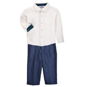 Boys Clothing Set - Navy Wool Pants w/ White Collared Button Down - PiccinoPiccina