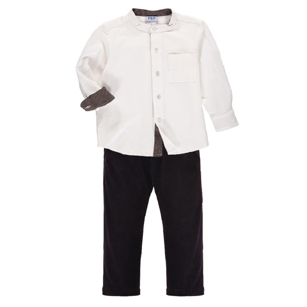 Boys Clothing Set - Black Pants w/ White Long Sleeve Buttoned Shirt - PiccinoPiccina