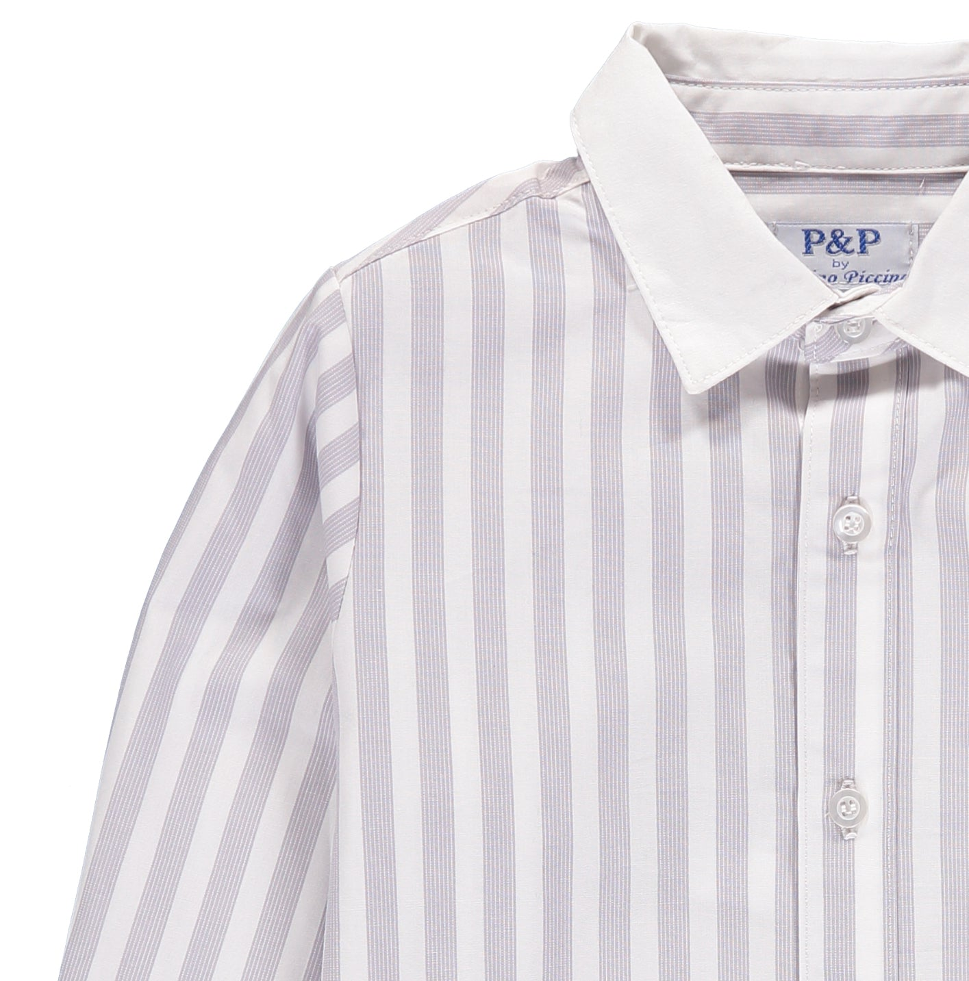 Boys White & Gray Striped Button Up - PiccinoPiccina