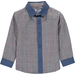 Boys Navy Grey Shirt - PiccinoPiccina