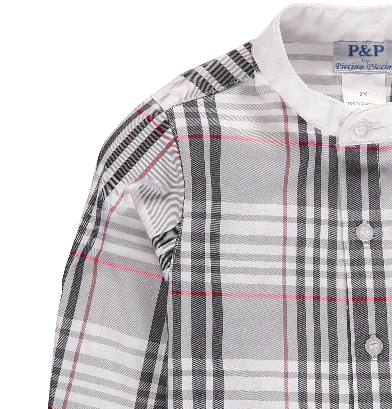 Boys Black & White Plaid Button Up - PiccinoPiccina
