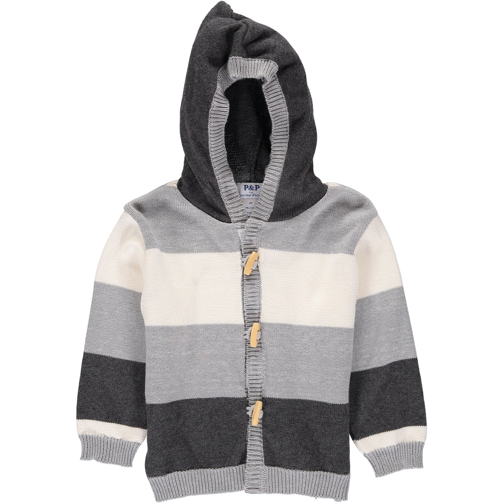 Boys Gray Knit Sweater w/ Thick Stripes & Wooden Toggle Buttons - PiccinoPiccina