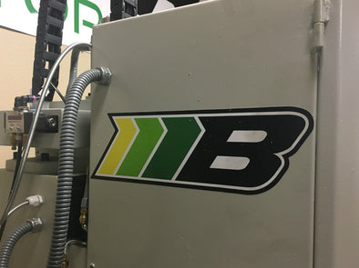 The Borg Motorsports Icon logo stocker on our CNC mill.