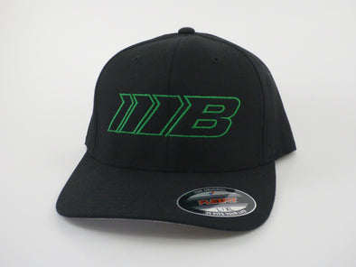 Borg Motorsports Outlined Green Logo on a Black Hat, Flexfit