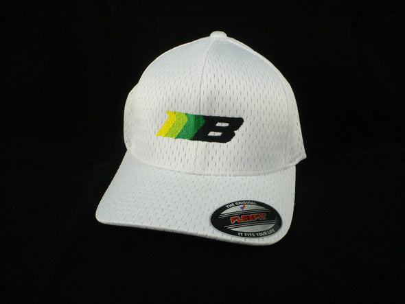Borg Motorsports color logo white hat, angled view.