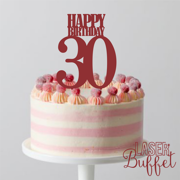 Laser Cut Happy Birthday 30 Cake Topper Template Shop Designs Online