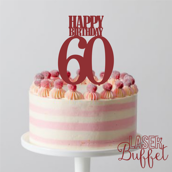 Laser Cut Birthday 60 Cake Topper Template Shop Designs Online