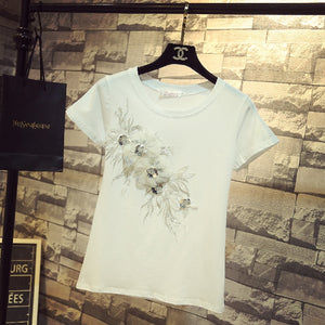 2019 Summer New 3D Flower T-Shirt
