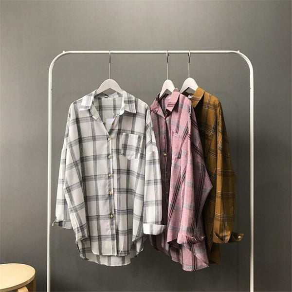 Big Loose Plaid Blouses Office Air Conditioner