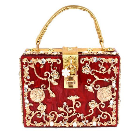 Floral Detailed Handbag - Red with Gold Details