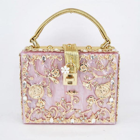 Floral Detailed Handbag - Rose Gold / Pink with Gold Details