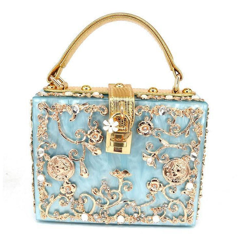 Floral Detailed Handbag -  Blue with Gold Details