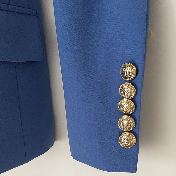 Designer Double Breasted Metal Lion Buttons Blazer Jacket Lake Blue