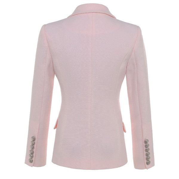 Designer Double Breasted Metal Lion Buttons Blazer Jacket Pink