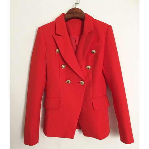 Designer Double Breasted Metal Lion Buttons Blazer Jacket Red