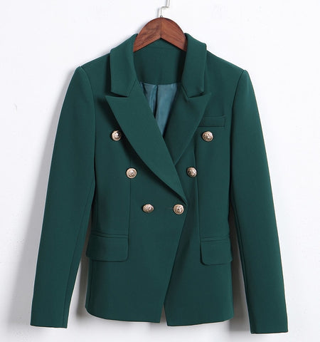 Designer Double Breasted Metal Lion Buttons Blazer Jacket Green