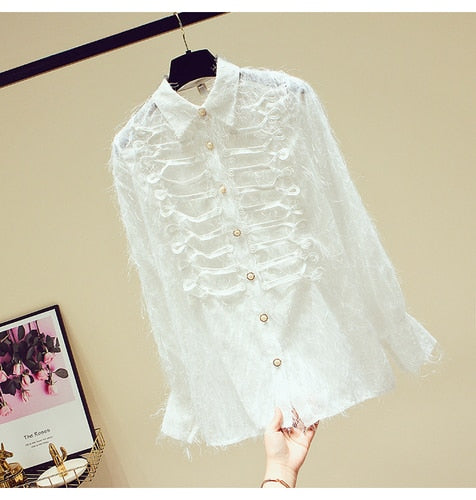 Lady Doll Collar Lace Shirt Buckle Blouse