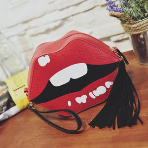 The perfect Lips Handbag - Tassels - PU Leather with Suade Tassels