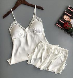 Cotton Sleepwear Silk Pajamas Lingerie Set