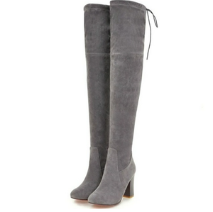 Over the Knee Suede Gray Boots