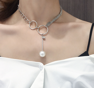 Double Loop & Pearl Silver Necklace