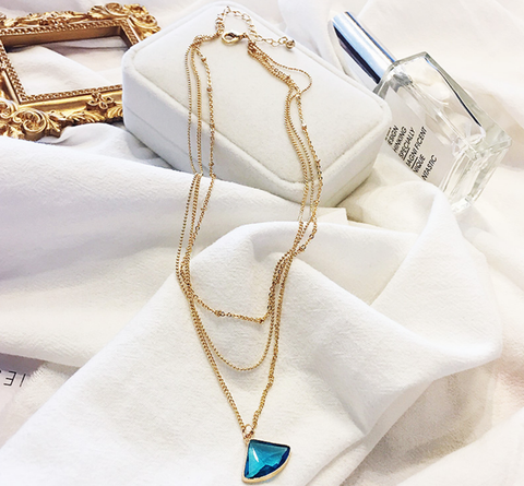 3 Layer Gold Chain Necklace with Turquoise Crystal