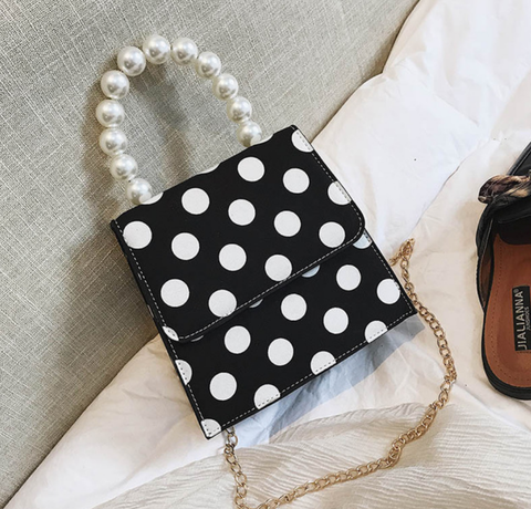 Famous XOXO Polka Dot Handbag - Black, White, Red, Blue Polka Dot and Pearl Handbag
