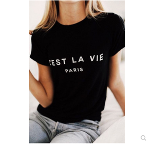 C'EST LA VIE Paris Graphic T Shirt - Black