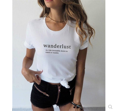 Wanderlust Graphic T Shirt - Black or White