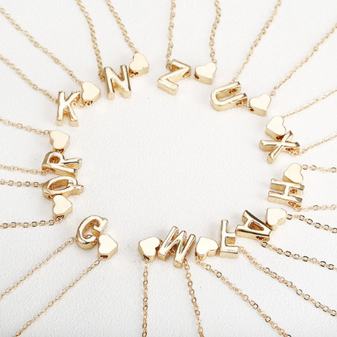 Xoxo 5th Avenue First Letter Gold Necklace