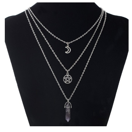 Xoxo 5th Avenue 3 Layered Necklace Star and Moon