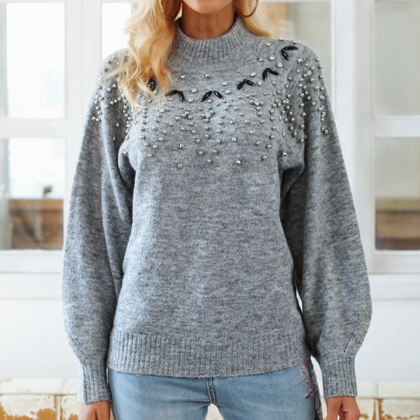 Xoxo 5th Avenue Lantern Sleeved & Beaded Knit Sweater