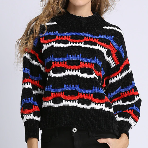 Xoxo 5th Avenue Lantern Sleeve & Striped Sweater