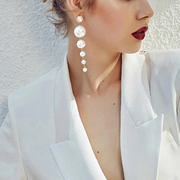 Xoxo 5th Avenue Pearl String Long Earrings