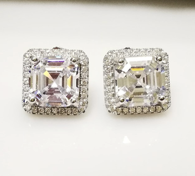 Xoxo 5th Avenue 925 Sterling Silver Jewelry 3 Carat Stud Earring