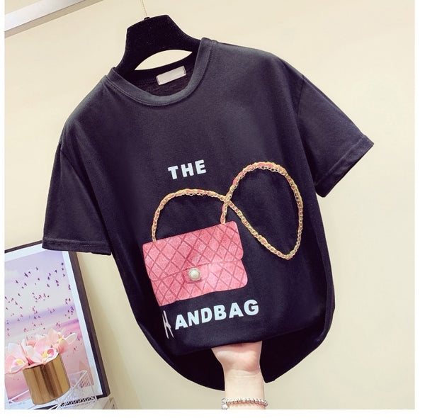 Bags Chain Splice Short-Sleeved Loose Tee Shirt
